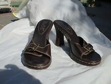 NEW women's shoes slides mules chunky heels brown size 6 1/2 Mudd buckle