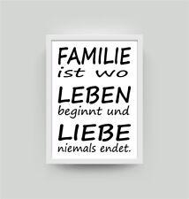Spruch Familie Leben Liebe   Kunstdruck A4 Wohnzimmer Deko Wandbild Poster  K013