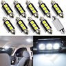 10X 36mm 3SMD CANBUS Error Free LED Dome License Plate Light Bulb 6418 C5W