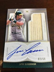 Jose Canseco 2021 Topps Definitive Bat Relic Auto 2/50 Oakland A's