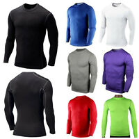 Mens Compression Armour Base Layer Top Long Sleeve Thermal Gym Wear Sports