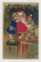 ~SILK~Santa Claus with Little Girl~Doll~ Holly~Antique~Christmas Postcard-a-98