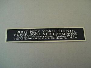 New York Giants Super Bowl 42 Nameplate For A Football Mini Helmet Case 1.25 X 6