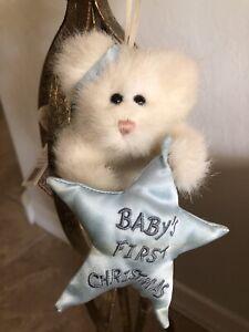"""Boyds Bears B. ANGELBOY #562401 2001 Plush 5"""" Baby's First Xmas Angel🐻 Orn NWT"""