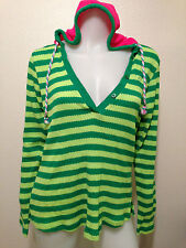 NEW! GREEN STRIPED KNITTED PULL OVER HOODIE PINK HOOD LUXIRIE SMALL/MEDIUM