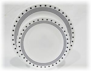 Corelle CITY BLOCK Dinner OR Lunch Plate *Black White GEOMETRIC Squares Circles