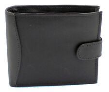 RFID Soft Real Leather Wallet With Zip Pocket Coin Pouch & ID Window 304 Black