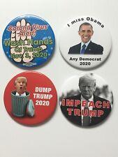 "4 Anti-Trump 2020 Presidential Campaign 3"" Button Impeachment Virus Dump Pin Set"