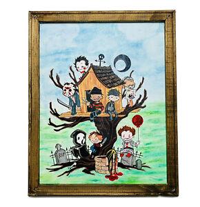 "Horror Movie Killers As Kids Tree House Framed Canvas 16x20"" Wall Art Decor ONAK"