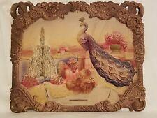 Huge Antique Heavily Embossed Diecut Wall Pocket Calendar Topper Germany Peacock
