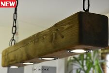 Light Oak Vintage Ceiling Light Hanging Lamp Rustic Farmhouse   4 x LED HANDMADE