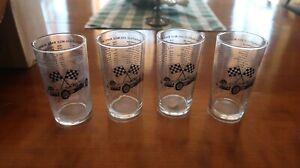 Jim Clark 1965 Indy 500 glasses, four, rare.