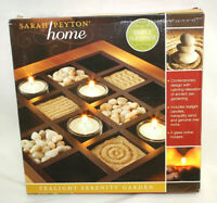 Sarah Peyton Home Tealight Serenity Garden With Candles, Sand & Rocks NEW S8914
