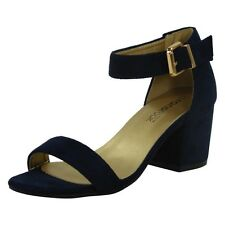 Womens Ladies Summer Ankle Strap Chunky Low Block Heel Shoes Buckle Sandals Size UK 7 / EU 40 / US 9 Navy