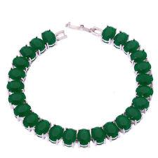 "Silver Emerald Women Jewelry Fashion Gemstone Chain Bracelet 7 3/4"" NS1341"