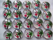 GLASS GEMS HP  PARTY FAVORS mini art pink flamingos flamingo palm trees