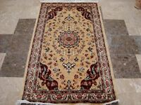 Cream Floral Medallion Rectangle Area Rug Hand Knotted Wool Silk Carpet (5 x 3)'