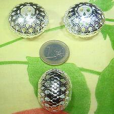 3 Abalorios Grandes 32x25mm M752A BisuteriaBaño de Plata Beads Billes Contas