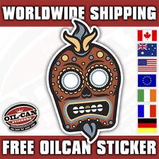 shrunken skull tiki Sugar Candy skull sticker/ hotrod kustom decal 85mm high