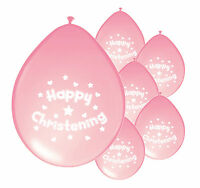10 x CHRISTENING GIRL PINK BALLOONS PARTY DECORATIONS (PA)