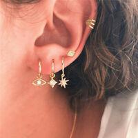 5Pcs/Set Crystal Evil Eye Star Ear Stud Earrings Women Tiny Gold Plated Jewelry