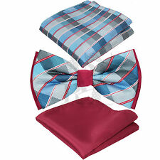 Two Tone Plaids Checkers Stripes Bowtie And Two Style Hankie Set Wedding BT2T105