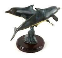 Vintage Signed Hawaiian Patina Brass Sculpture Twin Dolphins Ocean Statue Figure
