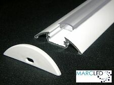 2 x Aluminium LED Profile P4, White Painted, Transparent Cover, End Caps, 2.5m