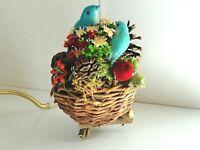 VTG Spun Cotton Birds Blue Nest Christmas Ornament Wood Dry Flowers Holly Berry