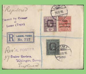 Togo 1916 KGV Anglo French Occ. overprints on reg. & Censored cover to England