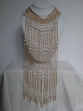 Statement  Necklace Long Faux Pearls Chain Gold Tone