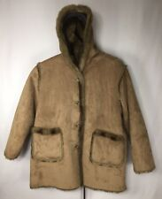 Dennis Basso Women's 2X Winter Coat Fur Trim Suede Brown Hood Hooded Button Tan
