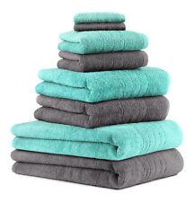 """Betz Lot de 8 serviettes/Set de sauna """"Deluxe"""" gris anthracite et turquoise,"""