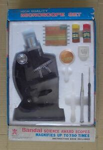 VINTAGE MICROSCOPE SET ( MAGNIFIES UP TO 750 TIMES)  MADE IN JAPAN, BANDAI,MIB.