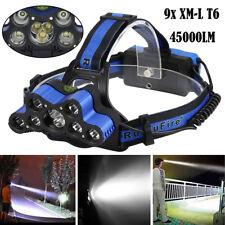 45000LM 9X XM-L T6 LED Wiederaufladbar Scheinwerfer Headlamp Kopflampe 18650 USB