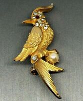 Art Deco Gold-tone & Multi-color Rhinestone Bird Brooch Vintage Estate Jewelry