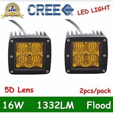 2X 3'' 16W CREE LED Work Light Offroad Driving 5D Lens Cube Pods Yellow Flood OF