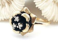 Vintage 14 Karat Yellow Gold 1/10 Carat Three Stone Diamond Rose Flower Ring