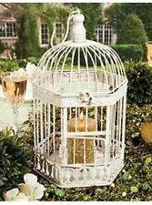 Wedding Centerpiece Decorative Bird Cage Rustic White Metal CANDLE Holder