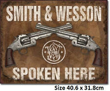 Smith & Wesson Spoken Here Tin Sign 1849 Many Other Gun Signs In My Ebay Store