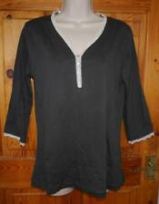 Clayre & Eef grey soft jersey knit lounge pyjama top 3/4 sleeves lace BNWT 12 14