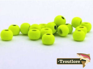 """FIREHOLE STONES NEW 36 PIECES 3.0mm 1//8/"""" CHARTREUSE MATTE TUNGSTEN BEAD HEADS"""