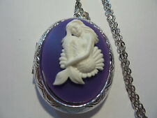 "CAMEO LOCKET BEAUTIFUL MERMAID WHITE/PURPLE 24"" CHAIN"
