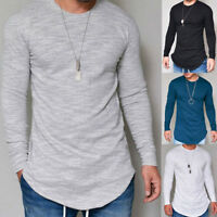 Autumn Men's Slim Fit O Neck Long Sleeve Muscle Tee T-shirt Plain Tops Blouse