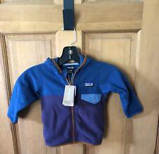 NWT Patagonia Jacket Baby Micro D Snap T 12-18 months Navy Blue Purple Orange