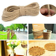 50M Twisted Burlap Jute Twine Rope Thick Natural Hemp Cord Sisal Rope 6mm QW