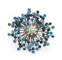 Vtg Style Silver Tone Blue Stone Star Sun Burst Flower Spray Diamante Brooch