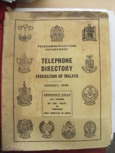 Federation Of Malaya Telephone Directory 1948 Complete