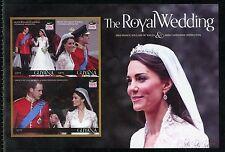 GUYANA ROYAL WEDDING OF PRINCE WILLIAM & KATE MIDDLETON IMPERF SHEET II MINT NH