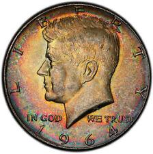 MS63 1964 50C Kennedy Silver Half Dollar, PCGS Secure- Beautifully Rainbow Toned